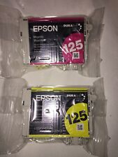 GENUINE NEW Epson 2 125 Ink Cartridge no box yellow and magenta sealed