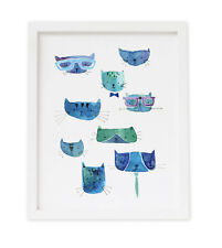 Cool Cats 8x10 Modern Watercolor Wall Art Print Gift for Cat Lovers