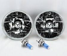 """5.75"""" 5 3/4 Round H4 Clear Glass Headlight Conversion w/ Bulbs Pair Pontiac"""
