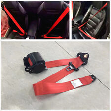 Universal Car Retractable Red 3 Point Safety Seat Belt Lap Seatbelt Accessories