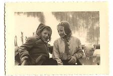 Enfants sport d'hiver neige - photo ancienne amateur an. 1940 50