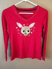 Paul Frank Chihuahua Womens Small Red Dog Shirt Long Sleeve Heart Top
