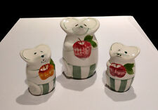 Set Of 3 Vintage 1997 Laurie Gates Mouse Ceramic Cheese, Salt And Pepper Shakers