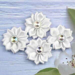 "1.5"" 10Pcs White Satin w/Rhinestone Flowers Ribbons Appliques Craft Supplies"