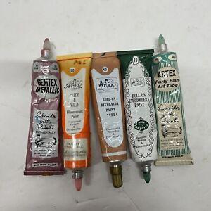 Vintage Artex Roll On Liquid Embroidery Paint Kit NOS 5 Colors