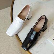 Women's Genuine Leather Square Toe Block Heel Slip On Pumps Slip On Shoes White