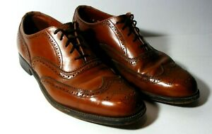 Vintage men's luxury wingtip oxford camel shoes by Dack Shoes of Canada Size 10.