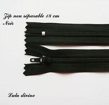 Zip/ Fermeture éclair simple non séparable de 18 cm, Couleur Noire