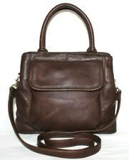❤️ FOSSIL Chocolate Pebbled Top-Grain Leather Cross-Body Tote Bag GREAT! L@@K!