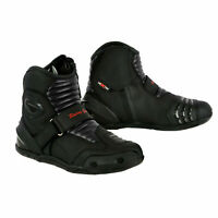 Waterproof Short Ankle Motorcycle Motorbike Leather Boot Off Road Black Touring
