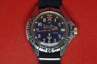 Vintage soviet Zakaz MO USSR VOSTOK Komandirskie Blue Submarine  watch  2414a