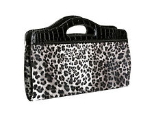 Nima Accessories Animal Print Clutch Handbag with Shiny Croc Handle Black