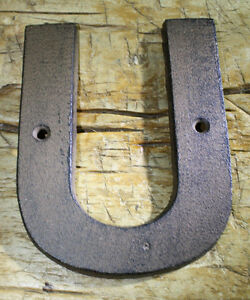 """Cast Iron Industrial LETTER U Sign Rustic Brown 5"""" tall Alphabet"""