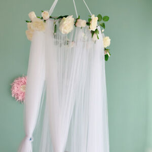 Kid Crib Bed Canopy Mosquito Net Tulle Curtain Hang Dome Tent with Garland White