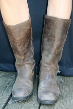 "NEXT Sturdy Distressed Leather Boots UK7 Brown 1"" Chunky Heels Pull-On Work 0ld"