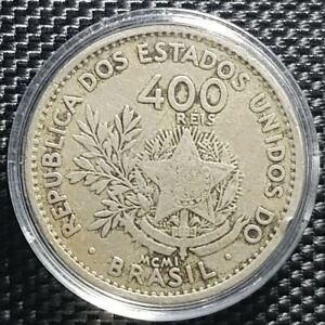 1901 LIBERTY BRASIL 400 REIS Copper-Nickel Coin Ø30mm(+FREE1 coin)#11068