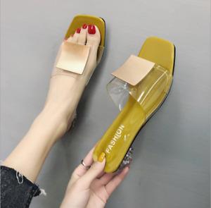 Women's Sandals Slippers Low Block Open Toe Heel Chic Comfortable Beach Clear Co