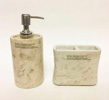 Nuovo 2 Pc Artigianale Marrone Chiaro,Avorio Originale Marmo Dispenser + Porta
