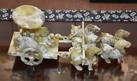 Rare Chinese Han Dy Old Jade Carved Carriage (5 horse 2 Person) (Bai Jian) L 46