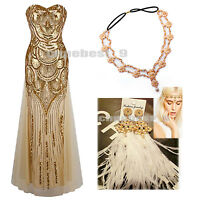 Ladies 1920s Flapper Dress Long Prom Maxi Costume Cocktail Evening Party Dresses