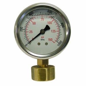 Holman Pressure Gauge Test Irrigation Watering System Stainless Steel 150psi
