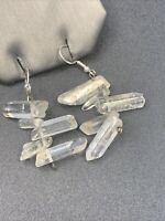 "Healing natural quartz crystal Boho Bohemian Drop Dangle Pierced Earrings 2"""