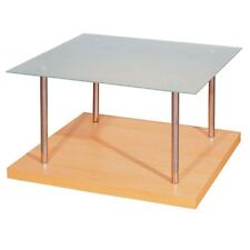 Coffee Table Bed Side End Table Glass Top Beech Veneer Chrome Legs - NEW