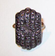 Vtg Art Deco Marcasite Silver Plate Panel Ring Flower Hexagon Cabochon Prong