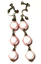 Very Long Bronze Pink Miracle Bead Clip-On Earrings Drop Dangle Vintage Style