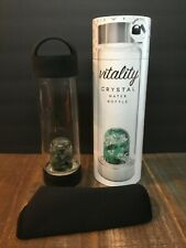 LIFESTYLE PRODUCTS VITALITY CRYSTAL WATER BOTTLE W/ EMERALDS & QUARTZ 16.9 OZ