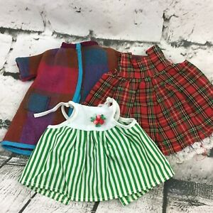 Vintage Doll Clothes 3Pc Lot Green Striped Dress Red Plaid Sweater Jacket