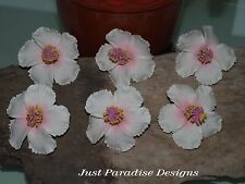 Hair Pins - Hibiscus Flower - WHITE with PINK centre - Set of 6 - Foam