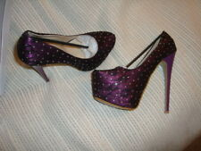 High Heel, Platform, Sexy, Fantasy Shoes size 8 colour Purple lace mesh diamonte