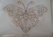 Decoration Rhinestone iron on Bling Transfer DIY Hot fix Applique Butterfly gold