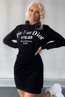 Women Long Sleeve Casual Hooded Jumper Sweater Mini Dress Pullover Sweatshirt