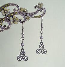 Gunmetal Celta Negro Triple Espiral Triskelion patrimonio Aros Colgantes
