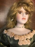 Beautiful Vintage Porcelain Doll with long flowing metallic green gown