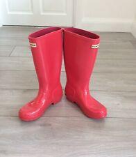 HUNTER Wellington Boots Pink Patent, UK Size 3, 36