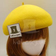 FASHION Wool Felt Women Soft Beret Hat Ladies Pillbox Stewardess   56cm   Yellow