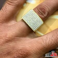 Mens Yellow Gold Finish .925 Silver Simulated Diamond Ring Iced Out Size 9 Pave
