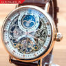 Mens Dual Time Flywheel Leather Luxury Bling Skeleton Automatic Mechanical Watch
