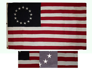 6x4 ft Betsy Ross Historical 100% Cotton Flag 6'x4' Banner Grommets 3 Clips