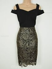 BNWT Definitions Black & Gold Lace Bardot Wiggle Pencil Dress Size 12 RRP £74