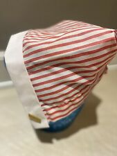 vintage womens red and white stripped bonnet, possibly a nurses hat with pins