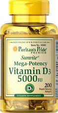 200 Softgels Puritan's Pride Sunvite Mega-Potency Vitamin D3 5,000IU Made in USA