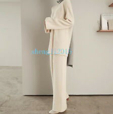 Women Lady Cashmere Wool knitted Sweater Cardigan+Wide Leg Pants Sets 2 Pic Suit