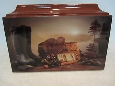 513 Fly Fishing/Trout Funeral Memorial Cremation Urn with Free Text made in USA!