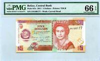 BELIZE $5 DOLLARS 2011 CENTRAL BANK GEM UNC PICK 67 e LUCKY MONEY VALUE $120