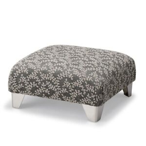 Biagi Upholstery & Design Square Charcoal Grey Patterned Square Footstool