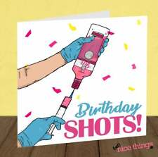 Funny Pink Gin Vaccine Birthday Card, Shots Birthday Cards, Sister Birthday, Her